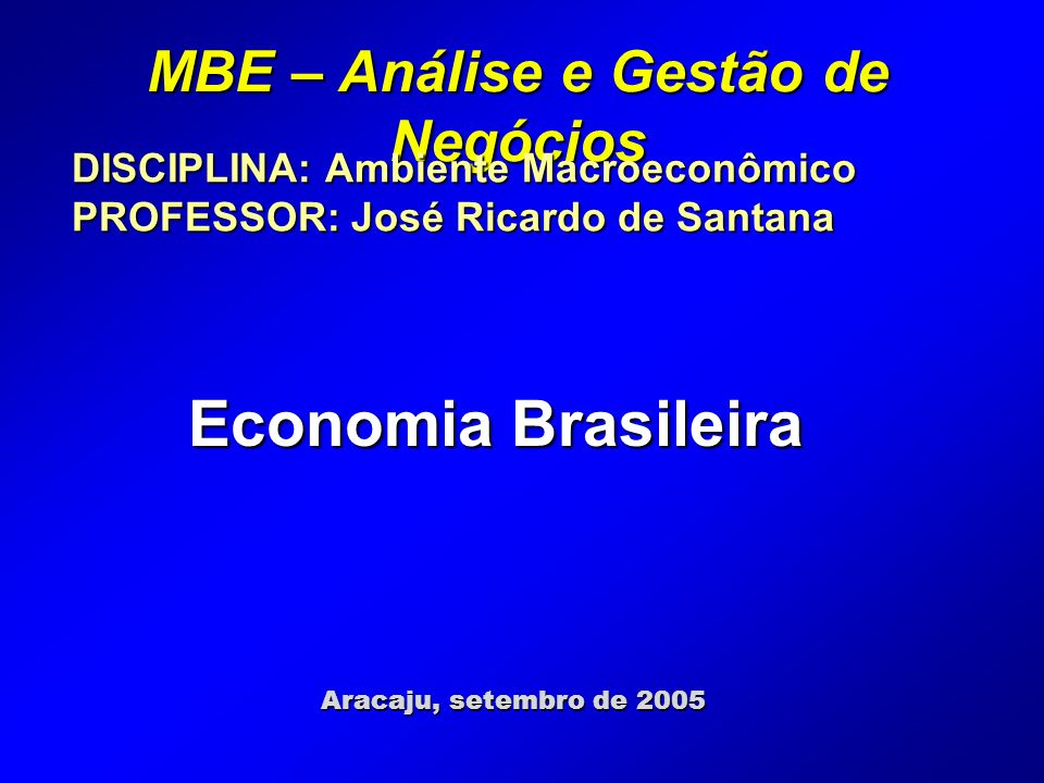 MBE – Análise e Gestão de Negócios