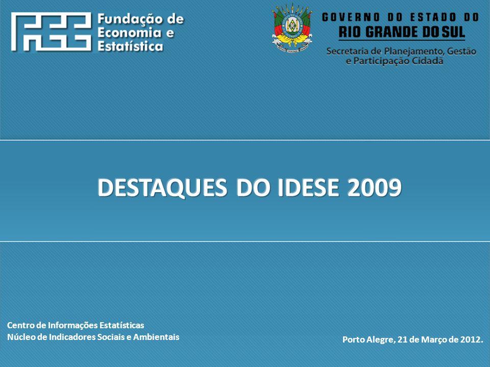 DESTAQUES DO IDESE 2009 Centro de Informações Estatísticas