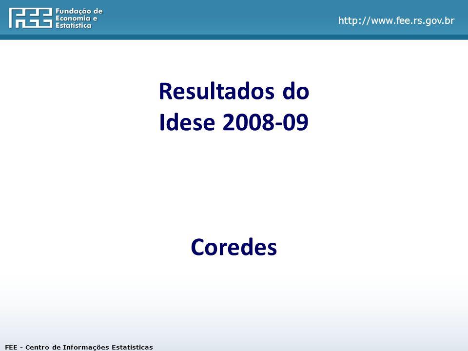 Resultados do Idese 2008-09 Coredes