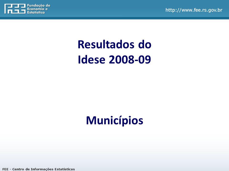 Resultados do Idese 2008-09 Municípios