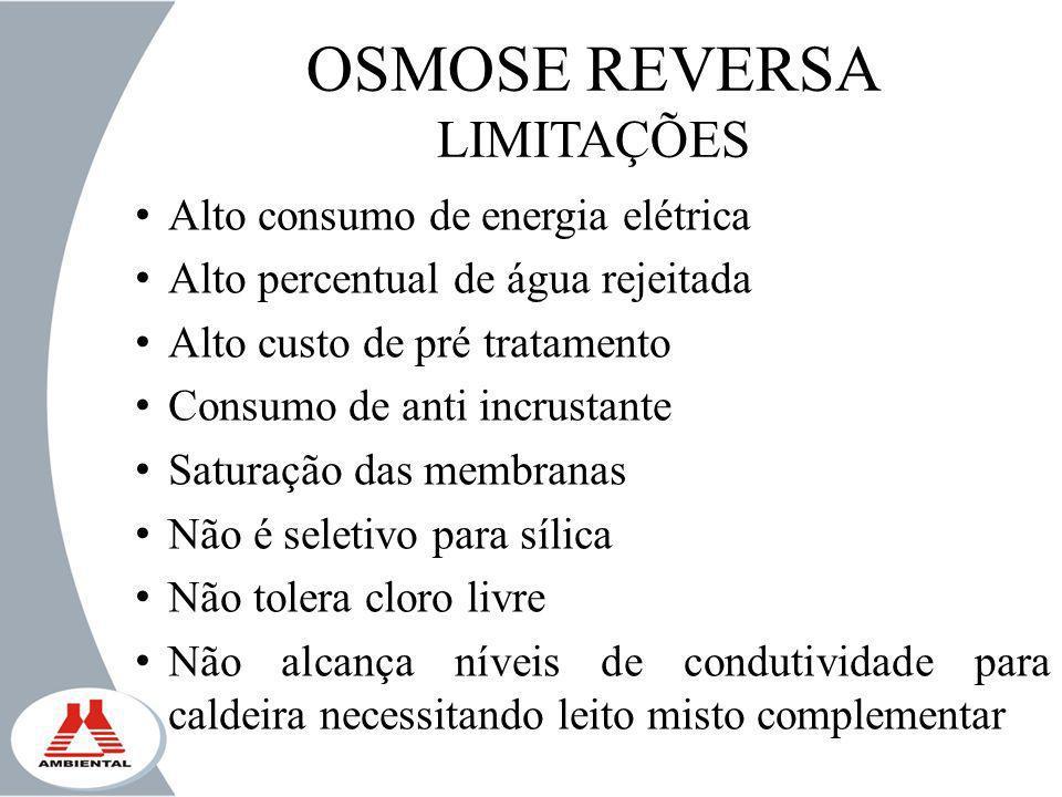OSMOSE REVERSA LIMITAÇÕES Alto consumo de energia elétrica