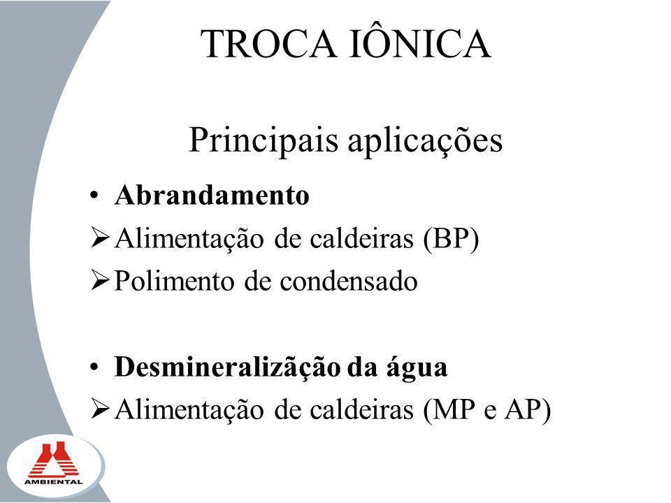 TROCA IÔNICA Principais aplicações