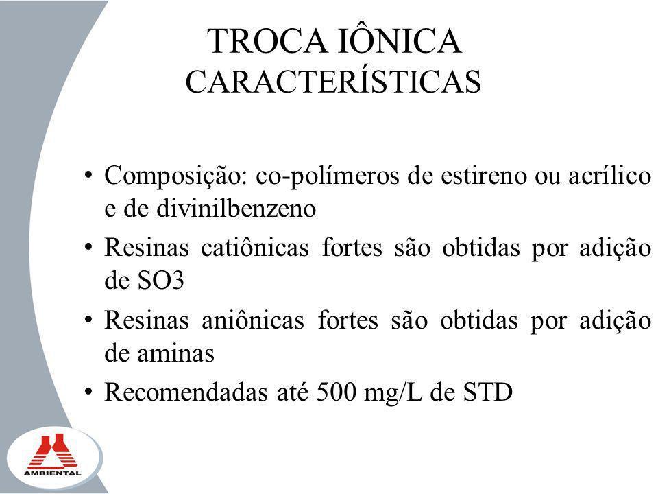 TROCA IÔNICA CARACTERÍSTICAS
