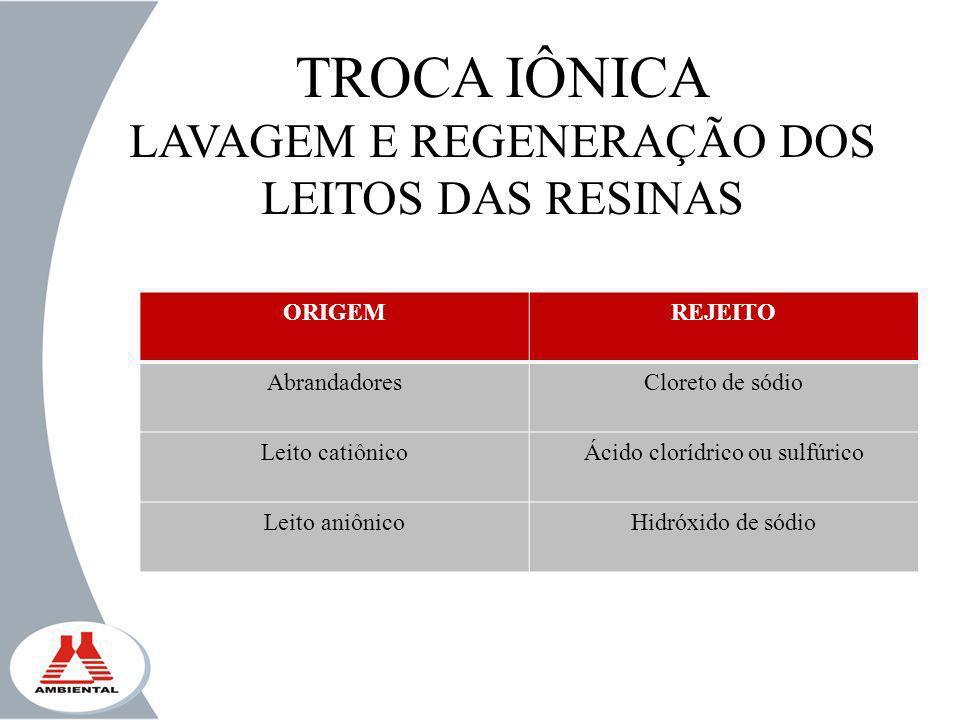 TROCA IÔNICA LAVAGEM E REGENERAÇÃO DOS LEITOS DAS RESINAS ORIGEM