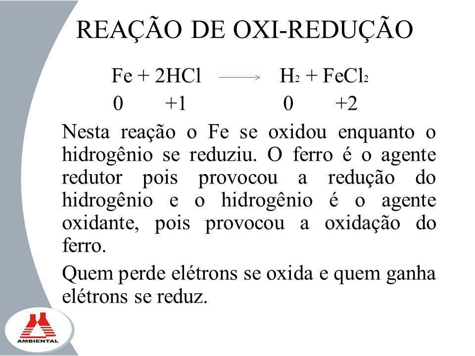 REAÇÃO DE OXI-REDUÇÃO