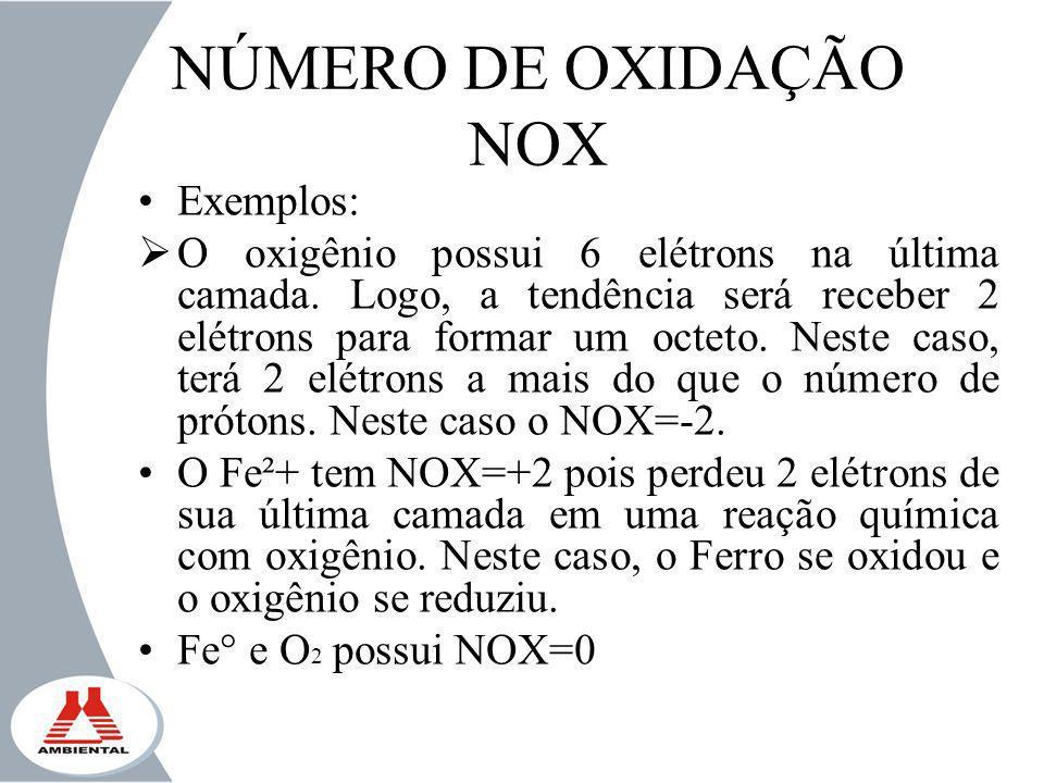 NÚMERO DE OXIDAÇÃO NOX Exemplos: