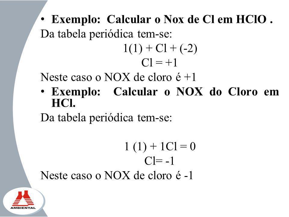 Exemplo: Calcular o Nox de Cl em HClO .