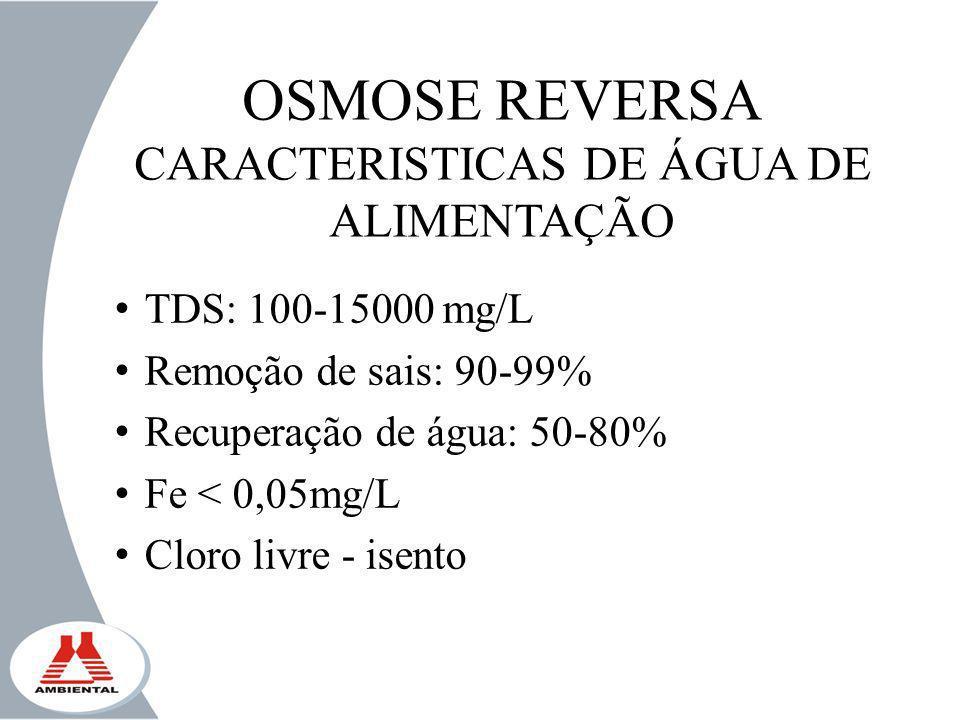 CARACTERISTICAS DE ÁGUA DE ALIMENTAÇÃO