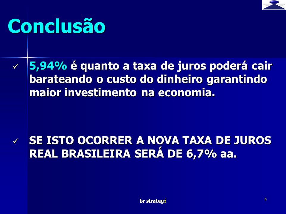 Conclusão 5,94% é quanto a taxa de juros poderá cair barateando o custo do dinheiro garantindo maior investimento na economia.