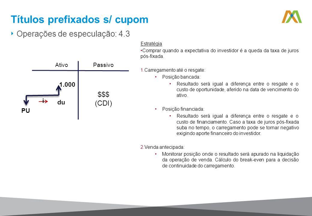 Títulos prefixados s/ cupom