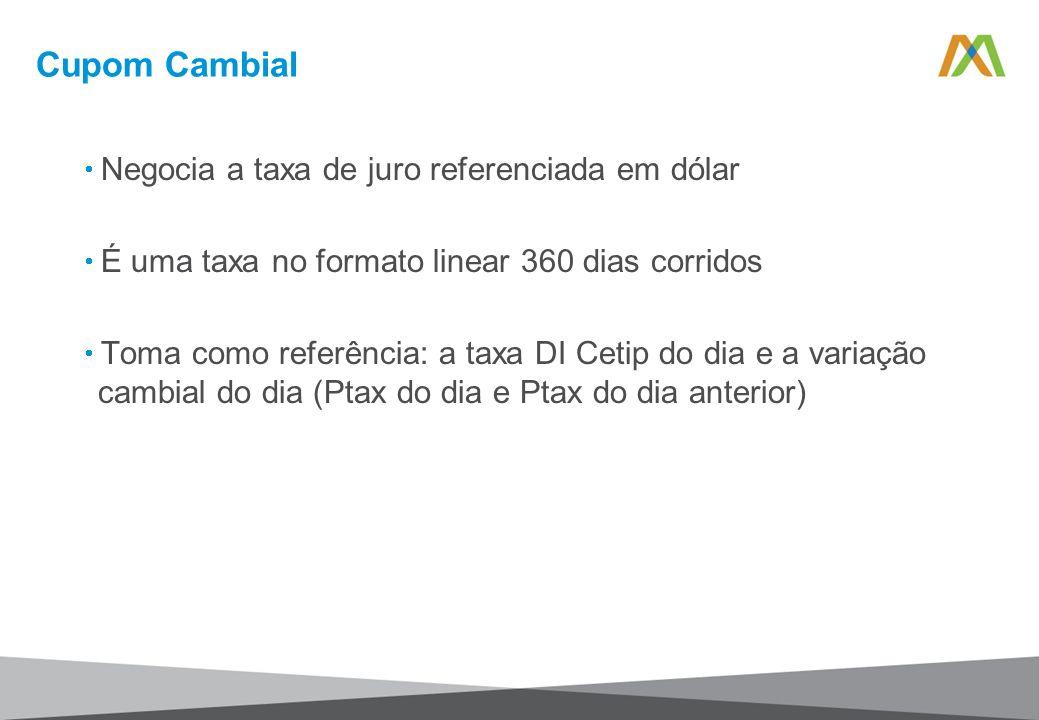 Cupom Cambial Negocia a taxa de juro referenciada em dólar