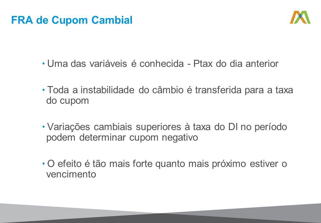 FRA de Cupom Cambial Uma das variáveis é conhecida - Ptax do dia anterior. Toda a instabilidade do câmbio é transferida para a taxa do cupom.
