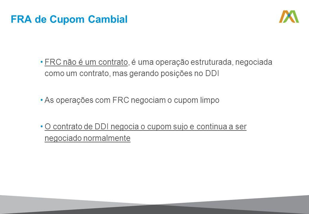 FRA de Cupom Cambial FRC não é um contrato, é uma operação estruturada, negociada como um contrato, mas gerando posições no DDI.