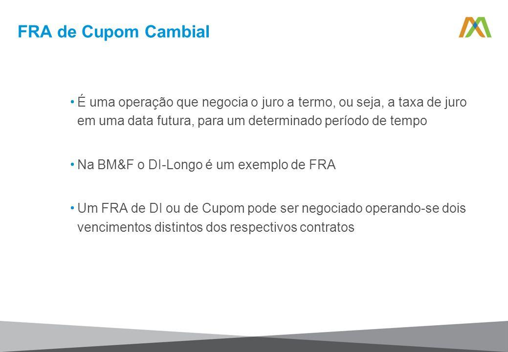 FRA de Cupom Cambial É uma operação que negocia o juro a termo, ou seja, a taxa de juro em uma data futura, para um determinado período de tempo.