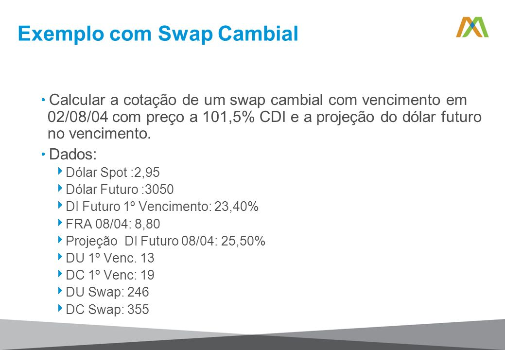 Exemplo com Swap Cambial