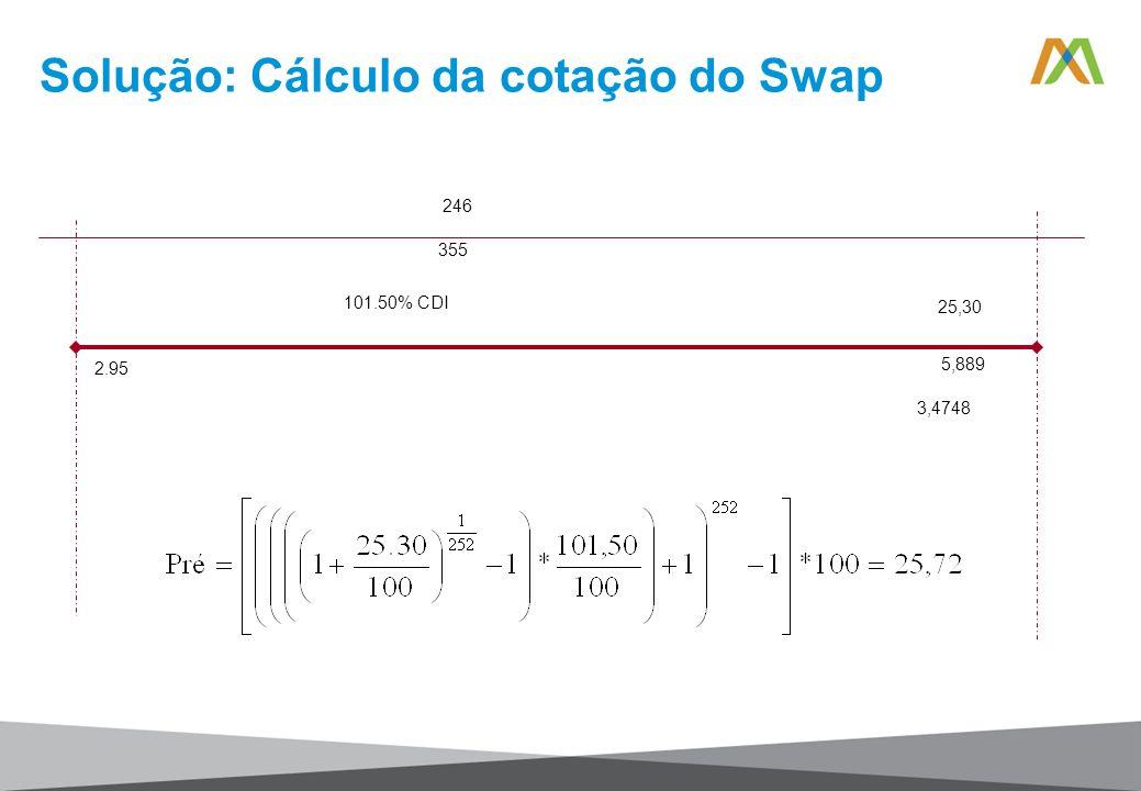 Solução: Cálculo da cotação do Swap