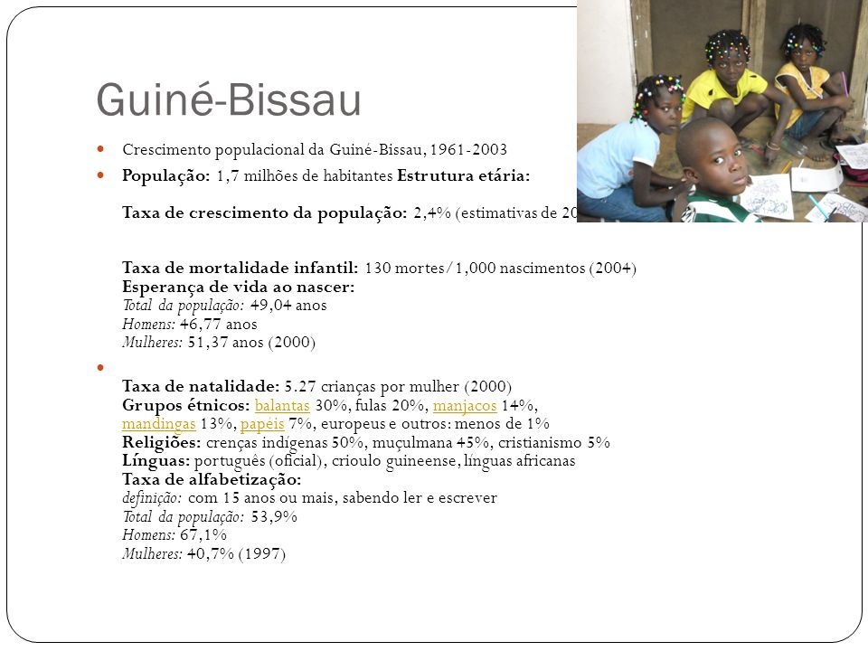 Guiné-Bissau Crescimento populacional da Guiné-Bissau, 1961-2003