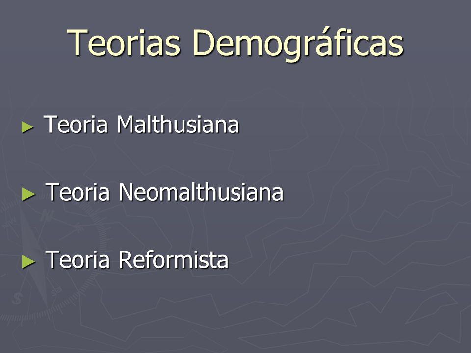 Teorias Demográficas Teoria Neomalthusiana Teoria Reformista