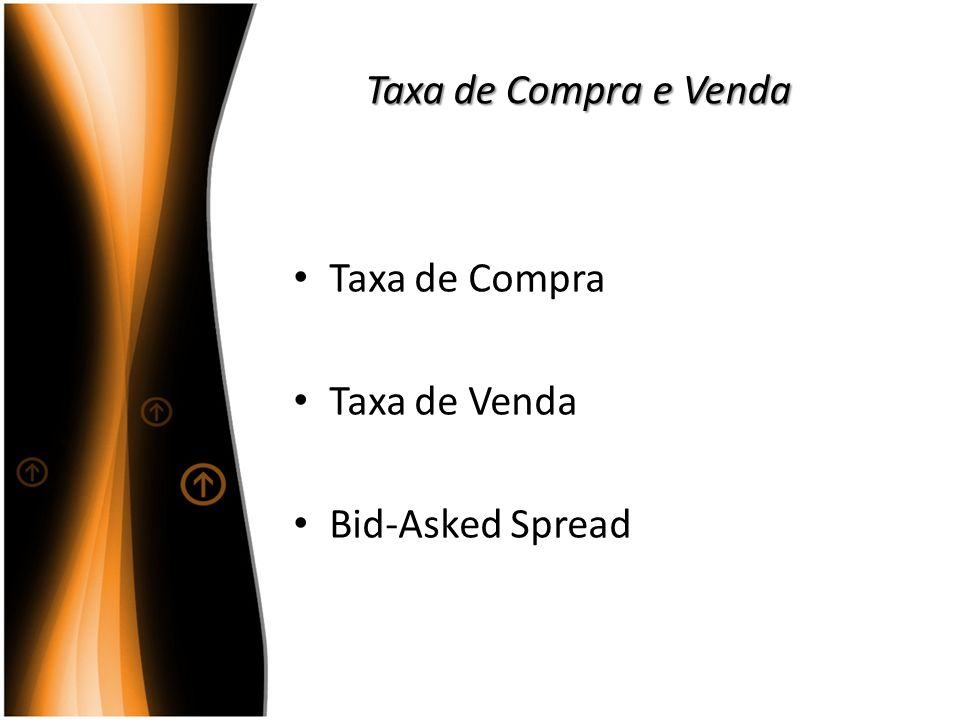 Taxa de Compra e Venda Taxa de Compra Taxa de Venda Bid-Asked Spread