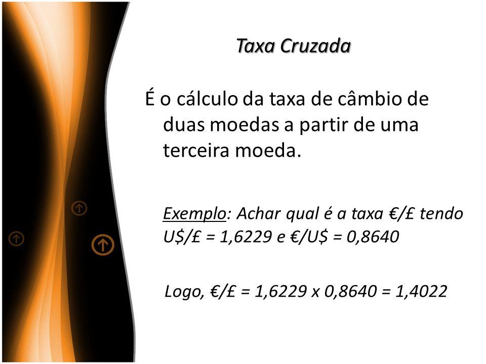Exemplo: Achar qual é a taxa €/£ tendo U$/£ = 1,6229 e €/U$ = 0,8640