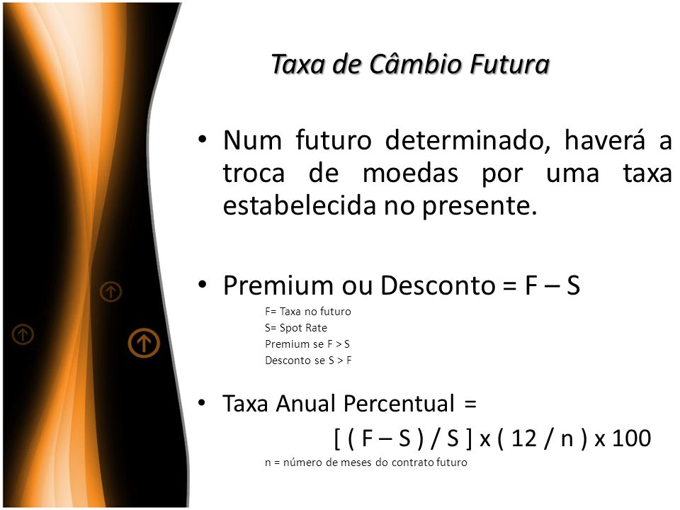 Premium ou Desconto = F – S