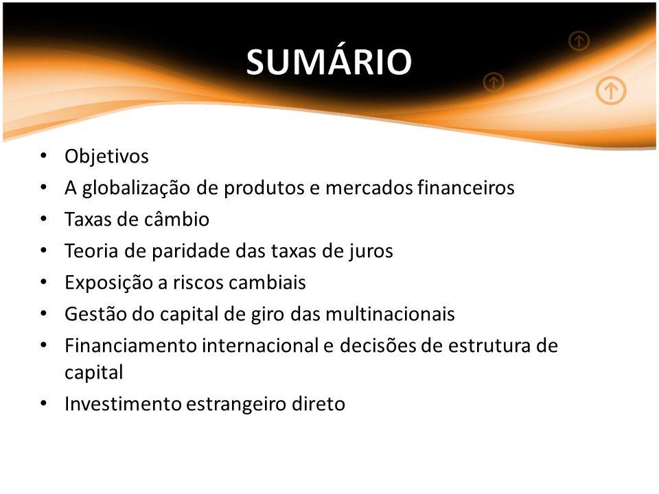 SUMÁRIO Objetivos A globalização de produtos e mercados financeiros