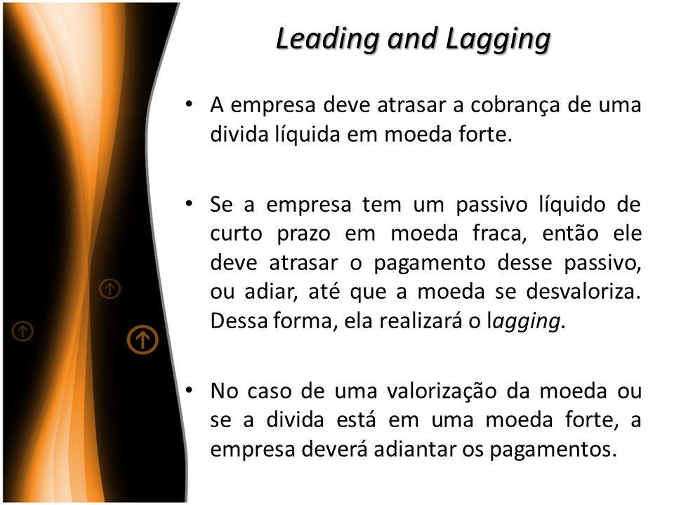 Leading and Lagging A empresa deve atrasar a cobrança de uma divida líquida em moeda forte.