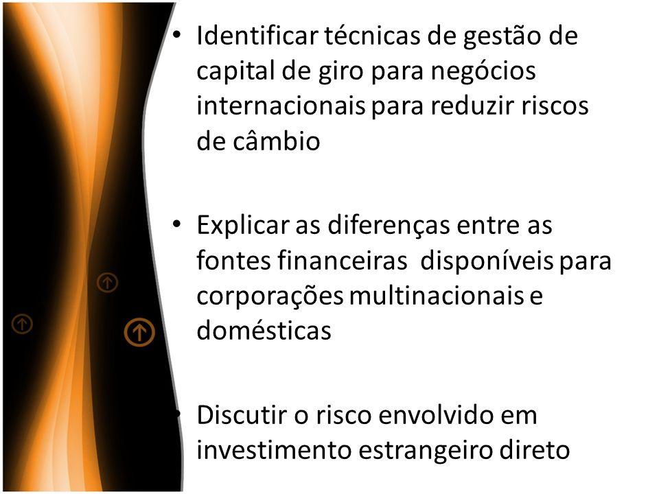 Identificar técnicas de gestão de capital de giro para negócios internacionais para reduzir riscos de câmbio