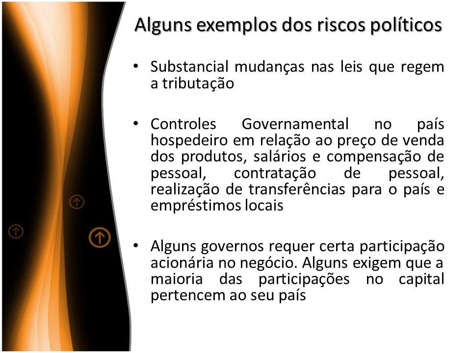 Alguns exemplos dos riscos políticos