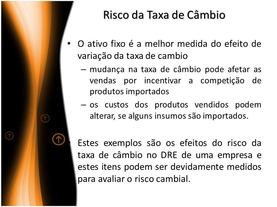Risco da Taxa de Câmbio O ativo fixo é a melhor medida do efeito de variação da taxa de cambio.