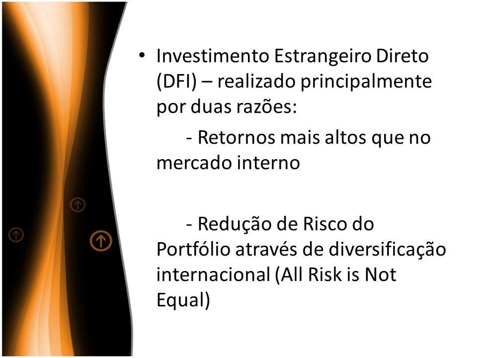Investimento Estrangeiro Direto (DFI) – realizado principalmente por duas razões: