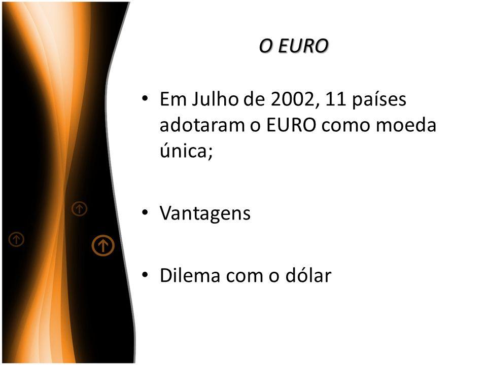 O EURO Em Julho de 2002, 11 países adotaram o EURO como moeda única; Vantagens Dilema com o dólar