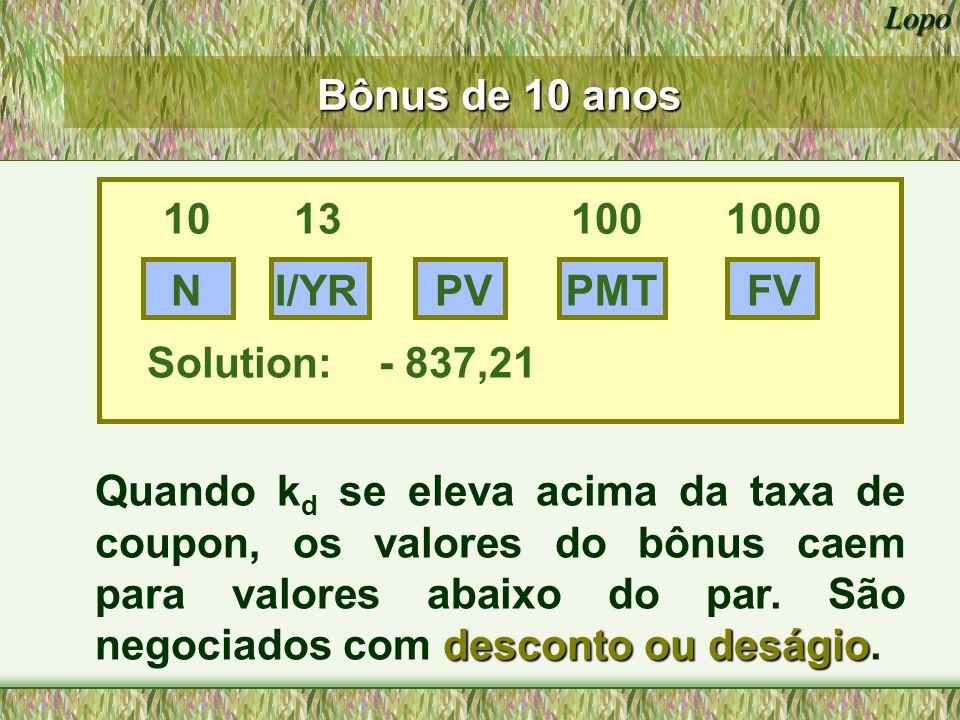Bônus de 10 anos 10 13 100 1000. N. I/YR. PV. PMT. FV. Solution: - 837,21.