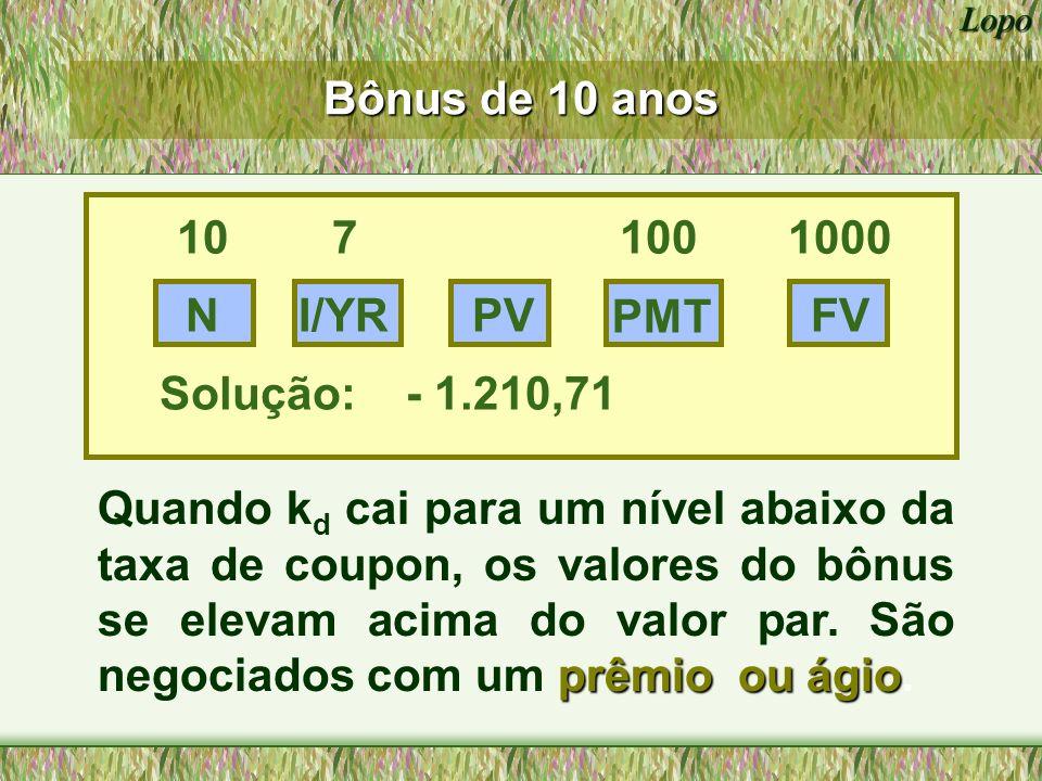 Bônus de 10 anos 10 7 100 1000. N. I/YR. PV. PMT. FV. Solução: - 1.210,71.