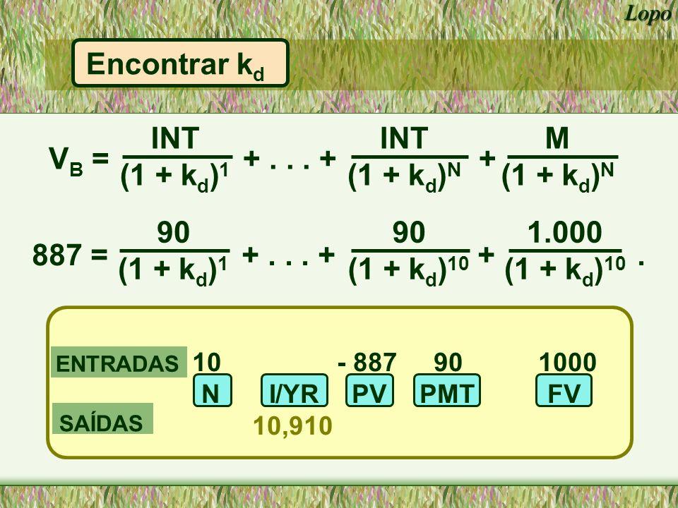 Encontrar kd INT (1 + kd)1 INT (1 + kd)N M (1 + kd)N VB = + . . . + +