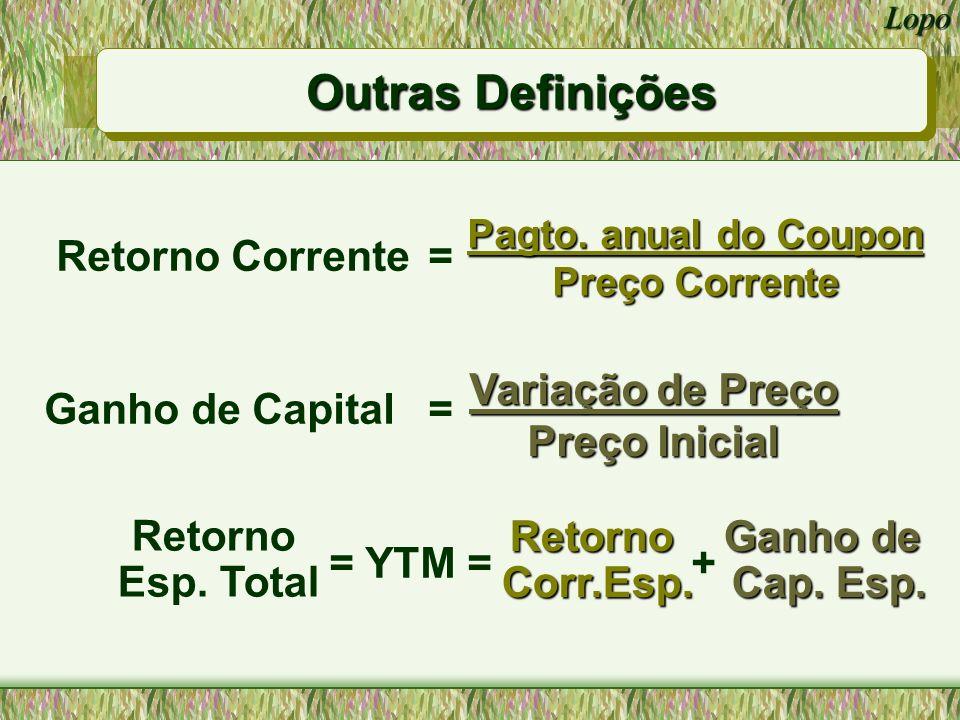 Outras Definições Retorno Corrente = Ganho de Capital = = YTM = +