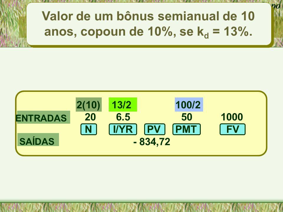 Valor de um bônus semianual de 10 anos, copoun de 10%, se kd = 13%.