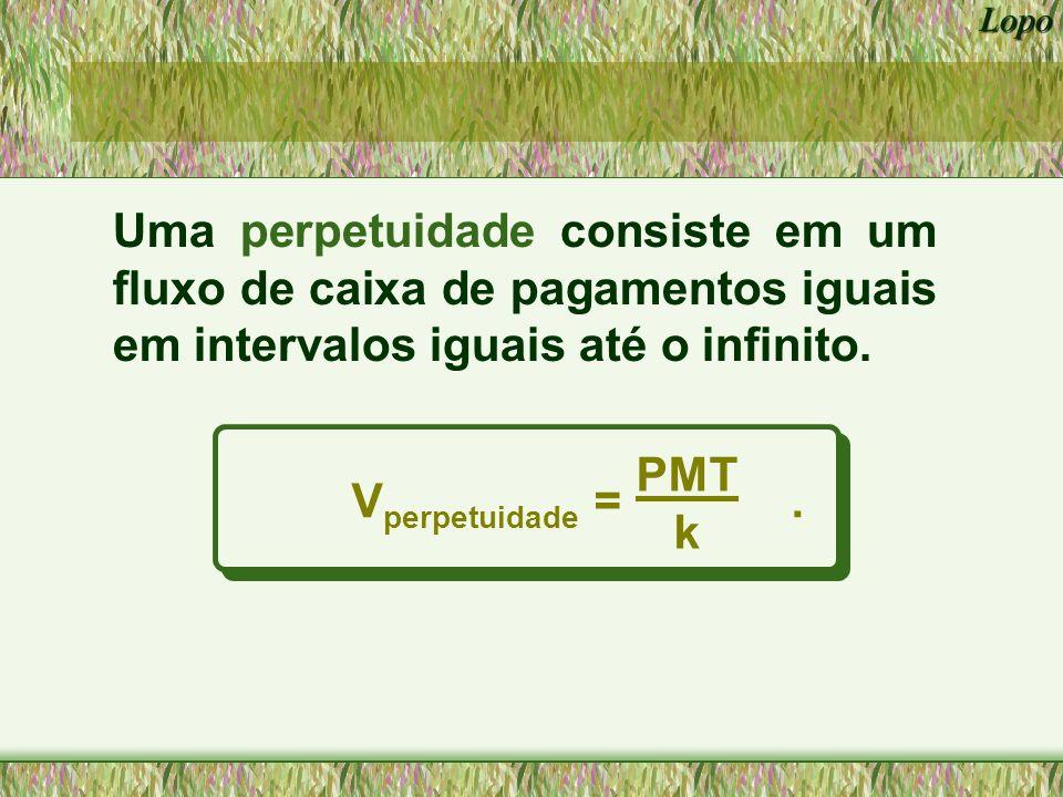 Uma perpetuidade consiste em um fluxo de caixa de pagamentos iguais em intervalos iguais até o infinito.
