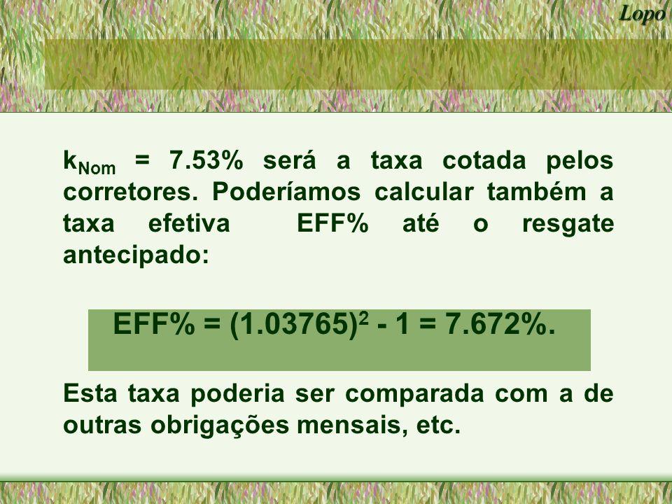 kNom = 7. 53% será a taxa cotada pelos corretores