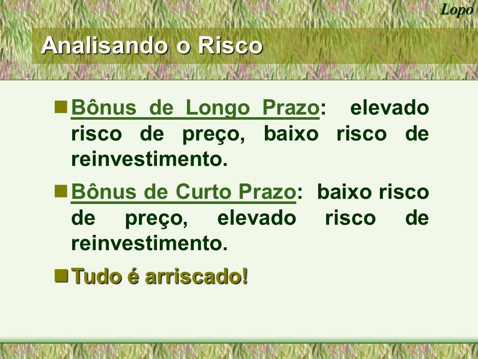 Analisando o Risco Bônus de Longo Prazo: elevado risco de preço, baixo risco de reinvestimento.