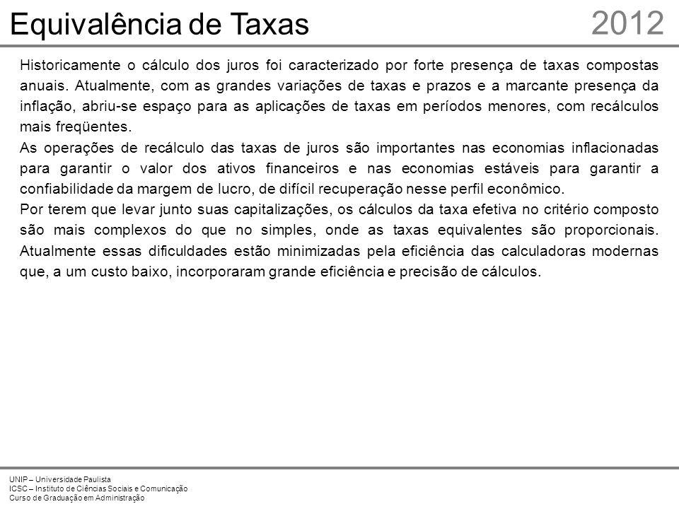 2012 Equivalência de Taxas Prof. Me. Marcelo Stefaniak Aveline 2 2
