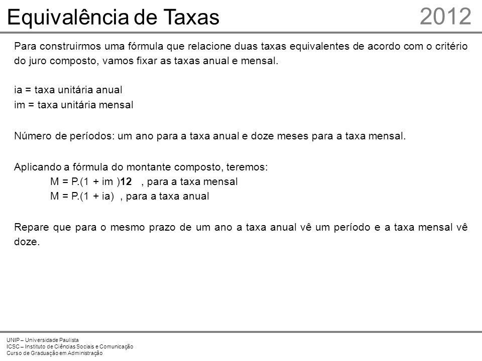 2012 Equivalência de Taxas Prof. Me. Marcelo Stefaniak Aveline 5 5