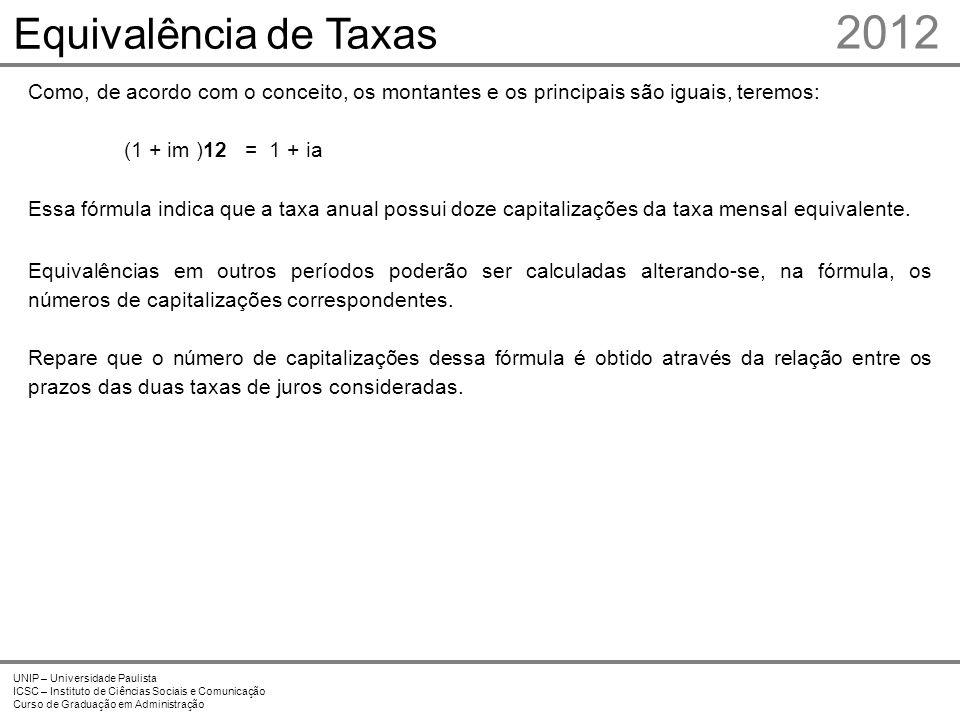 2012 Equivalência de Taxas Prof. Me. Marcelo Stefaniak Aveline 6 6
