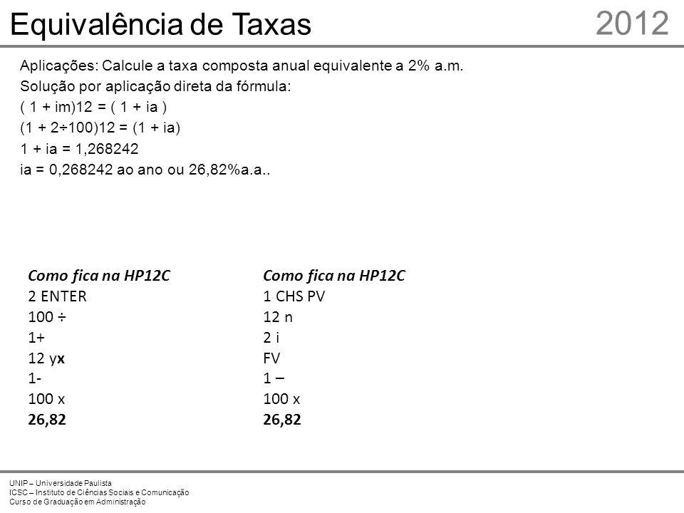 2012 Equivalência de Taxas 7 Prof. Me. Marcelo Stefaniak Aveline 7