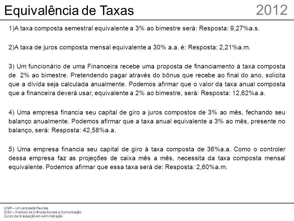 2012 Equivalência de Taxas Prof. Me. Marcelo Stefaniak Aveline 8 8