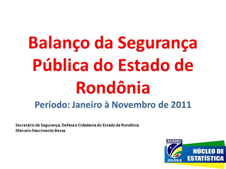 Balanço da Segurança Pública do Estado de Rondônia Período: Janeiro à Novembro de 2011