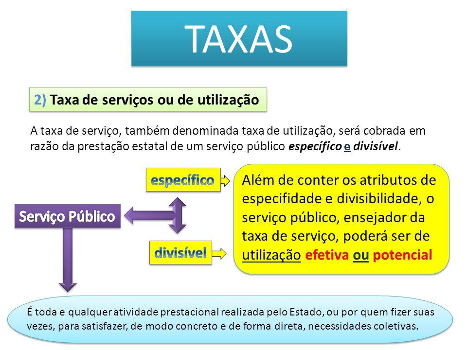 TAXAS 2) Taxa de serviços ou de utilização específico
