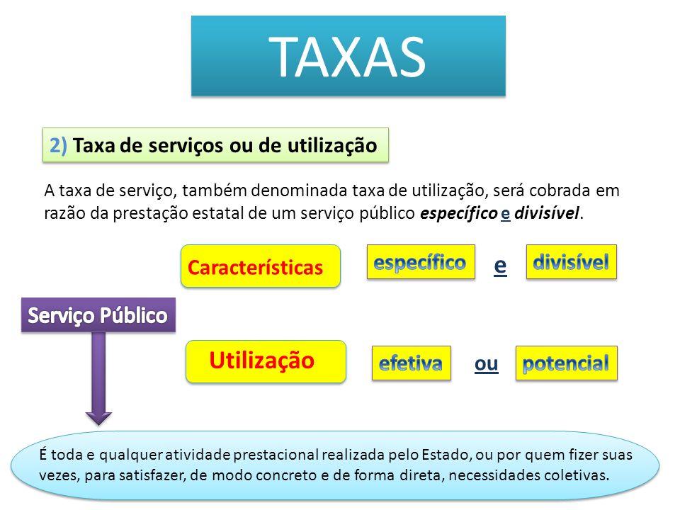 TAXAS Utilização 2) Taxa de serviços ou de utilização específico