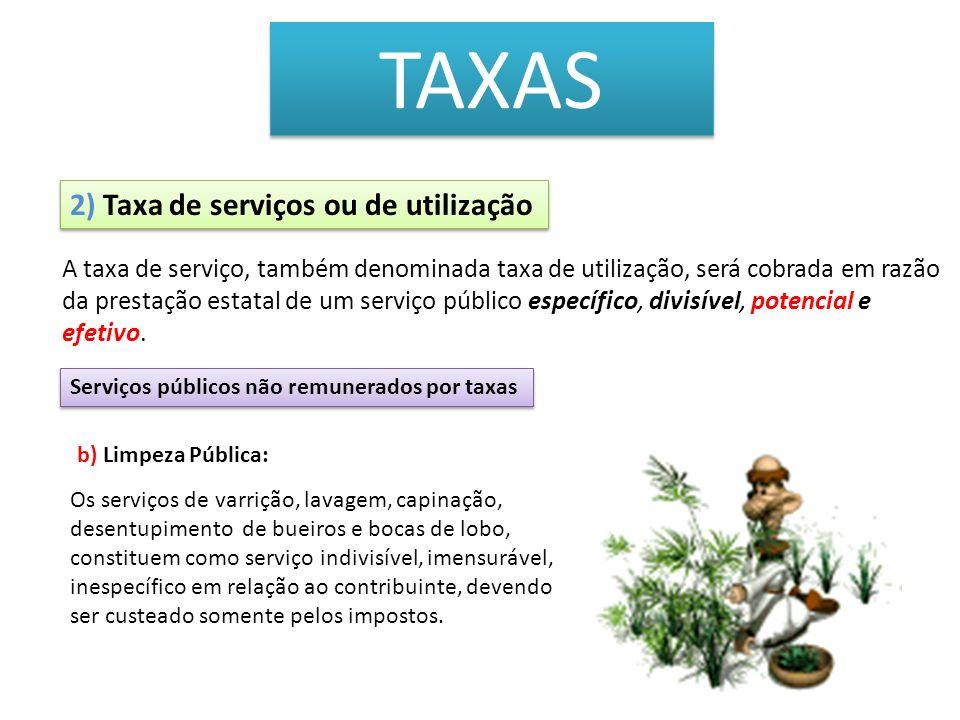 TAXAS 2) Taxa de serviços ou de utilização