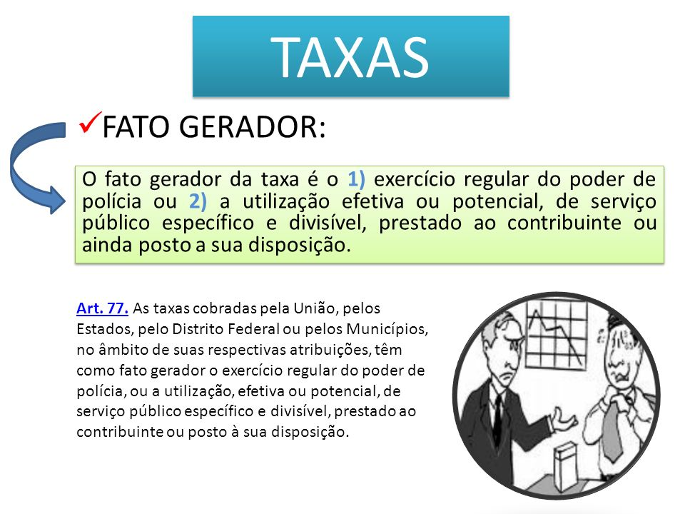 TAXAS FATO GERADOR: